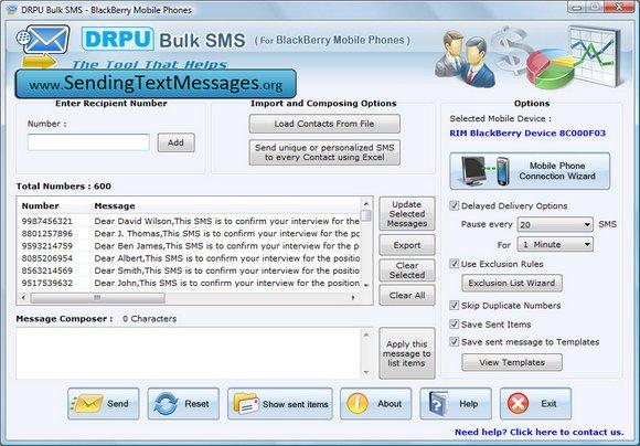 Windows 7 BlackBerry SMS Application 6.0.1.4 full